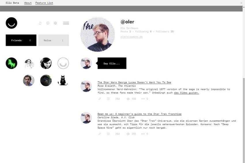 Screenshot Ello