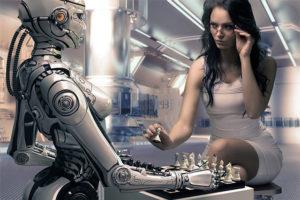 Femme joue aux échecs avec un robot - Intelligence artificielle