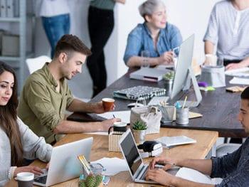 les bureaux dans une startup française