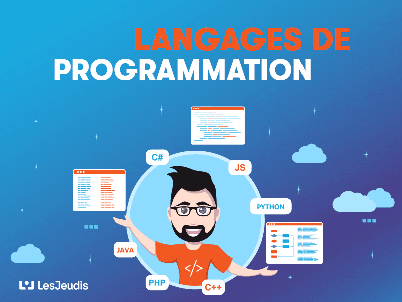 illustration: programmateur et ses differents langages de programmation